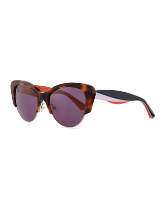 Colorblock-Arm Cat-Eye Sunglasses, Havana/Pink/Black