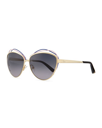 Golden Metal Butterfly Sunglasses with Wire, Blue/Pink