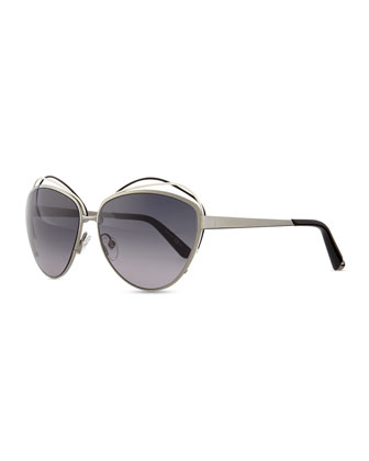 Silver Metal Butterfly Sunglasses with Wire, Black/White
