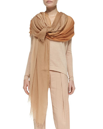 Cashmere Easy Top w/ Center Seam, Ombre Scarf & Pleated Linen-Blend Pants ...