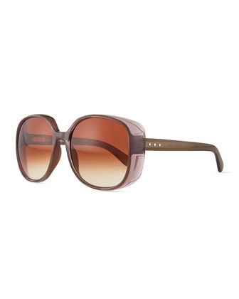 Rounded Colorblock Sunglasses, Mud Multi