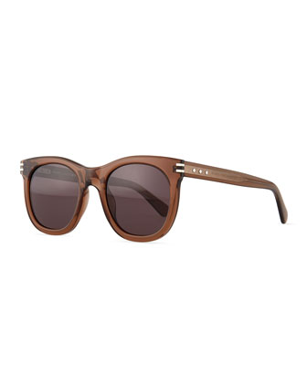 Rounded Acetate Sunglasses, Brown