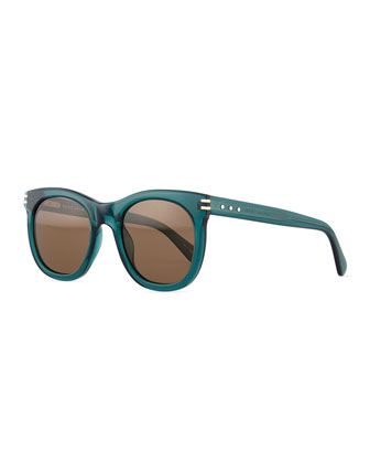 Rounded Acetate Sunglasses, Green