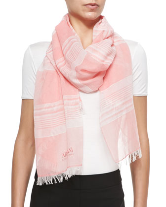 Woven Stripe Scarf, Pink