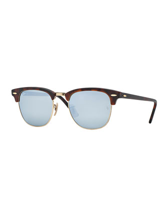 Clubmaster Sunglasses with Silver Mirror Lens, Havana