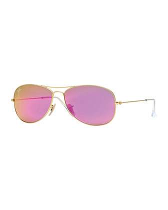 Aviator Sunglasses with Red Mirror Lens, Golden