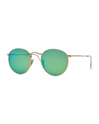 Round Metal-Frame Sunglasses with Green Mirror Lens