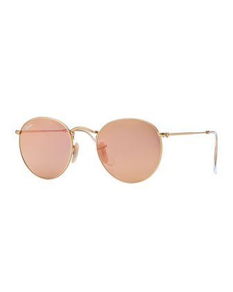 Round Metal-Frame Sunglasses with Pink Lens