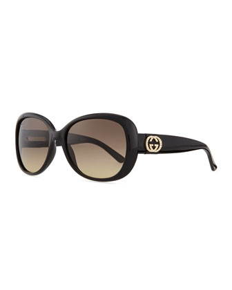 Crystal GG Logo Sunglasses, Black
