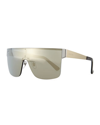 GG Logo Shield Mirror Sunglasses, Light Golden