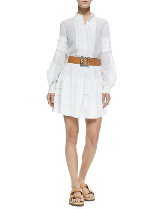 Band-Collar Pleated Shirt, Tiered Cotton Miniskirt & Jeweled-Buckle Leather ...