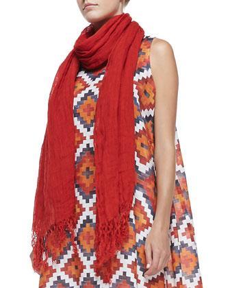 Bateau-Neck Tunic with Hem Band, Scarf with Wavy Fringe & Wide-Leg ...