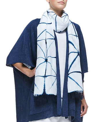 Fringed Tie-Dye Scarf & A-Line Denim Shift Dress