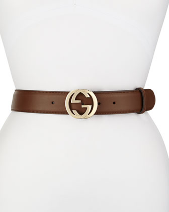 Wide Adjustable GG-Buckle Belt, Nut Brown