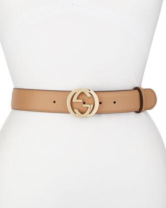 Wide Adjustable GG-Buckle Belt, Camelia