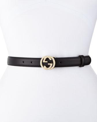 Interlocking G-Buckle Belt, Black