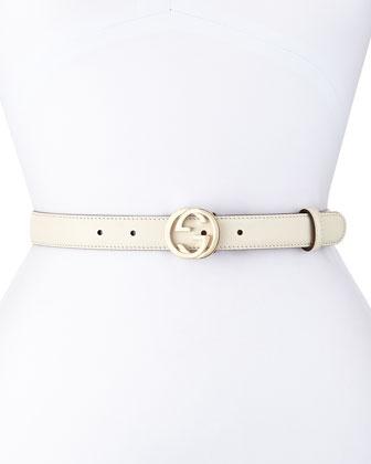 Interlocking G-Buckle Belt, White