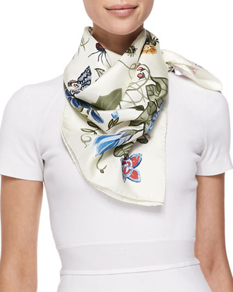 Flora Knight Foulard Square Scarf, White