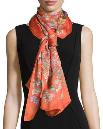 Bloole Silk Scarf/Stole, Orange/Brown