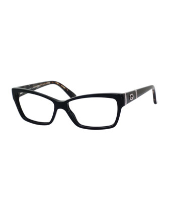 Rectangle Fashion Glasses with Interlocking G, Black