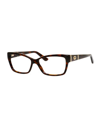 Rectangle Fashion Glasses with Interlocking G, Dark Brown Havana