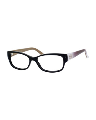 Rectangle Fashion Glasses with Ombre Arms, Black/Violet
