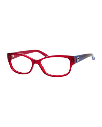 Rectangle Fashion Glasses with Ombre Arms, Red/Blue