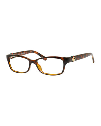 Rectangle Fashion Glasses with Web and Interlocking G, Havana
