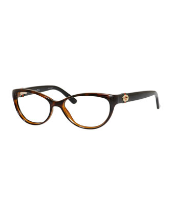 Cat-Eye Fashion Glasses with Web and Interlocking G, Havana