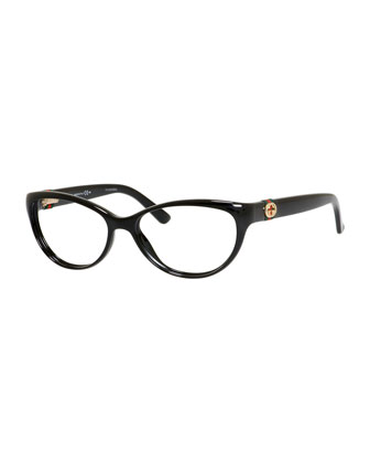 Cat-Eye Fashion Glasses with Web and Interlocking G, Black