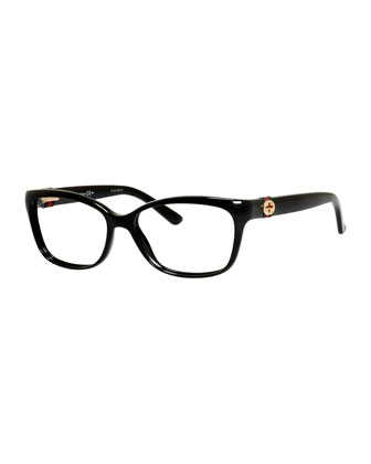 Medium Rectangle Fashion Glasses with Web and Interlocking G, Black