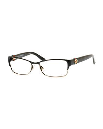 Half-Rim Fashion Glasses with Web and Interlocking G, Black