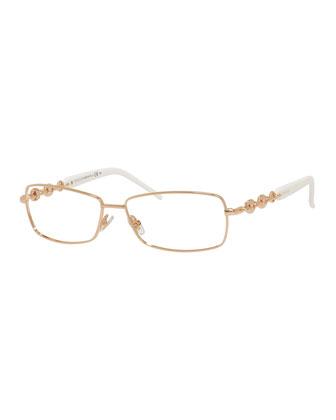 Chain-Detail Fashion Glasses, Gold/White