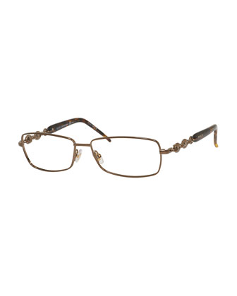 Chain-Detail Fashion Glasses, Bronze/Havana