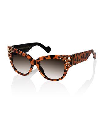 Mademoiselle d'Or Leopard-Print Sunglasses