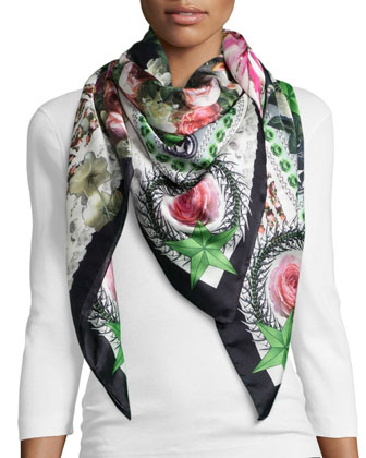 Paradise Flowers Scarf, Black/White