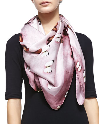 Silk Satin Butterflies Scarf