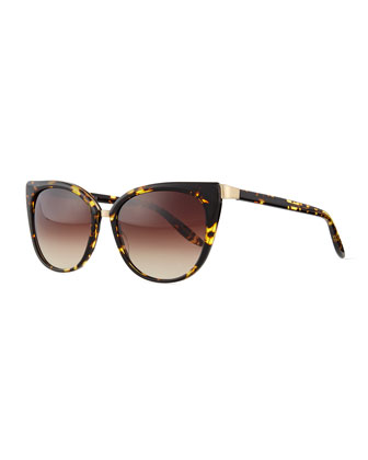 Ronette Cat-Eye Tortoise Sunglasses, Brown