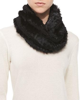 Knitted Rabbit Fur Loop Scarf, Black