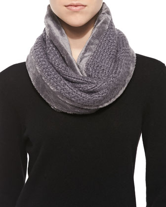 Faux Micro-Fur Loop Scarf, Charcoal