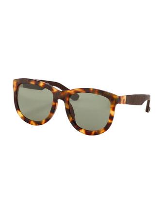 Square Leather Sunglasses, Walnut
