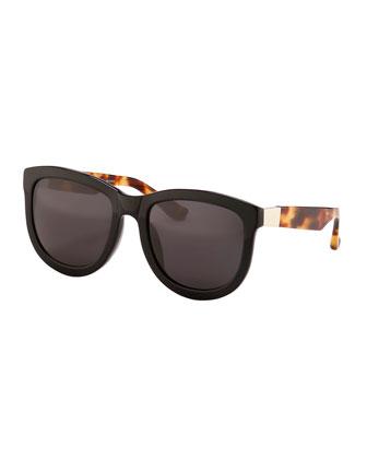 Square Tortoise-Arm Sunglasses, Black