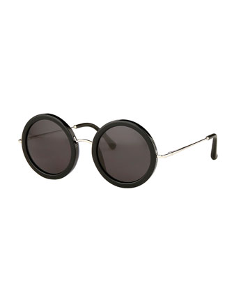 Round Circle Sunglasses, Black