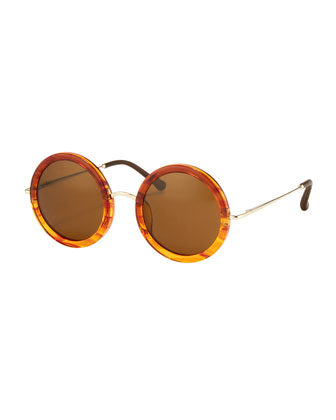Round Circle Sunglasses, Tortoise
