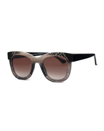 Limited Edition Chromaty Square Sunglasses, Gray Pattern
