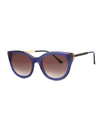 Acetate Cat-Eye Sunglasses, Blue