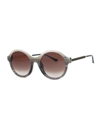 Gifty Ombre Round Sunglasses, Gray