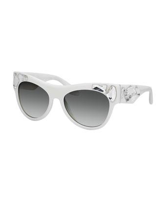Jeweled Cat-Eye Lenses, Ivory/Clear