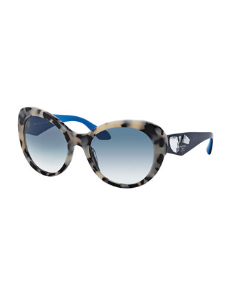 Rounded Cat-Eye Jeweled Temple Sunglasses, White/Blue