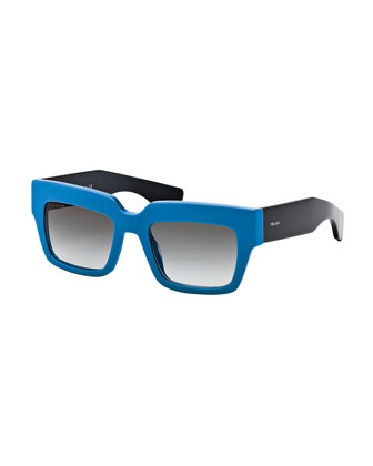 Colorblock Rectangle Sunglasses, Blue